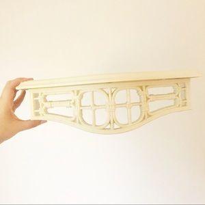 Homco White Faux Rattan Wood Shelf Boho Decor